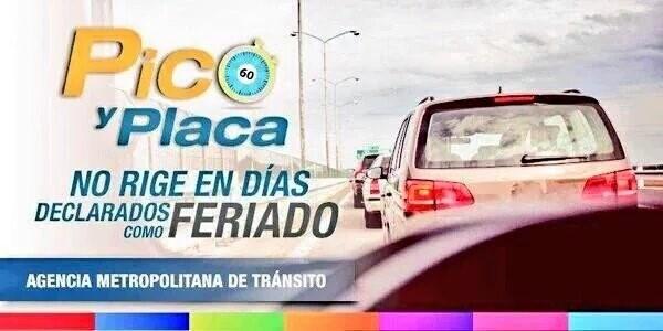 Pico y Placa suspendido los días de feriado.