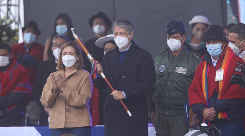 El presidente Guillermo Lasso recibió el bastón de mando en Tamboloma